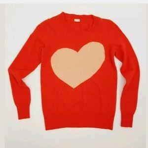 J. Crew XS Crewneck Heart Sweater Orange Red
